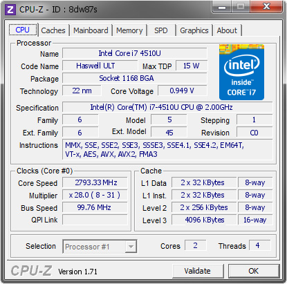 CPU intel core i7 4510U