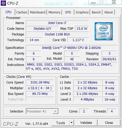 مشخصات پردازنده مرکزی intel core i7 6600u